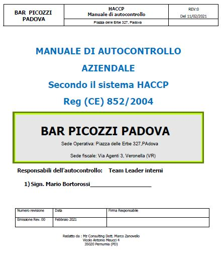 Mz Consulting Dott. Marco Zanovello Consulenza HACCP